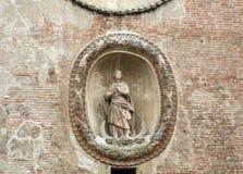 Palazzo-della Ragione met de Torre-dell ` Orologio ` Klokketoren ` Mantua, Royalty-vrije Stock Fotografie