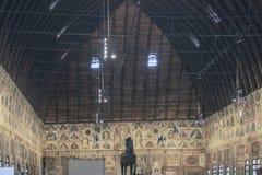 Palazzo della Ragione. At Padova - Italy - On october 2018 - the Sala or main hall of Padua`s Palazzo della Ragione decorated by a vast fresco cycle depicting stock photography