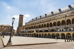 The Palazzo della Ragione in Padua. PADUA, ITALY - JULY 2, 2017: The Palazzo della Ragione is old town hall, located on the territory of the city market royalty free stock images