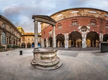 Palazzo della Ragione and Piazza dei Mercanti in the Morning Stock Photo