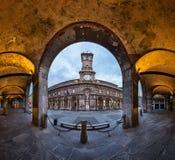 Palazzo della Ragione and Via dei Mercanti in the Morning Stock Images