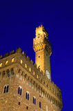 Palazzo della Signoria在夜间,佛罗伦萨 免版税库存照片