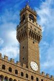 Palazzo della Signoria塔从Piazzale米开朗基罗,看法的 免版税库存图片
