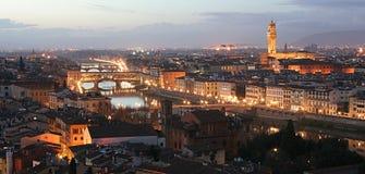 Palazzo della Signoria and Ponte Vecchio Panorama Stock Photos