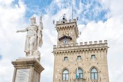 Palazzo della statua e del pubblico di libertà, repubblica di San Marino, Fotografia Stock Libera da Diritti