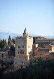 Palazzo di Alhambra, torre di Comares, Granada, Spagna Immagine Stock Libera da Diritti