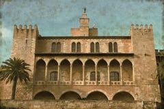Palazzo di Almudaina in Palma de Mallorca - annata Fotografia Stock Libera da Diritti