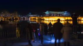 Palazzo di Donggung di viaggio di Gyeongju, padiglione nel lago Anapji alla notte Gyeongju, Corea del Sud video d archivio