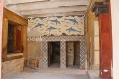 Palazzo di Knossos Dettaglio delle rovine antiche del palazzo famoso di Minoan di Knosos Isola del Crete, Grecia immagine stock libera da diritti