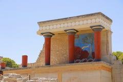 Palazzo di Knossos Dettaglio delle rovine antiche del palazzo famoso di Minoan di Knosos Isola del Crete, Grecia immagine stock