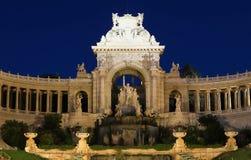 Palazzo di Longchamp a Marsiglia nella sera fotografie stock libere da diritti