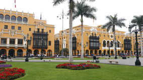 Palazzo di municipio e palazzo del sindacato a Lima del centro Fotografia Stock Libera da Diritti