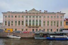 Palazzo di Stroganov sul fiume in San Pietroburgo, Russia di Moika Fotografie Stock Libere da Diritti