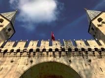 Palazzo di Topkapi con cielo blu Costantinopoli fotografia stock libera da diritti