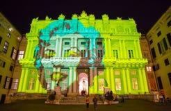 Palazzo Ducale, mostra dedicado à exposição do evento de Andy Warhol em Genoa, Itália fotografia de stock royalty free