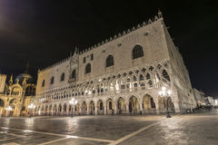 Palazzo Ducale by night in Venice. Night view of Palazzo Ducale in San Marco Square, Venice, Italy royalty free stock photography