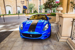 Palazzo Hotel and Casino valet parking. Blue Ferrari in the Velvet parking area for The Palazzo Hotel and Casino Stock Images