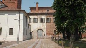 Palazzo Lateranense and public park in Mortara, PV, Italy.  stock video