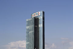 Palazzo lombardia with the expo adv Stock Images