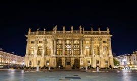 Palazzo Madama à Turin la nuit image libre de droits