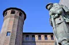 Palazzo Madama en el cuadrado del castillo, Turín. Imagen de archivo