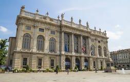 Palazzo Madama i piazza Castello, Turin royaltyfria bilder