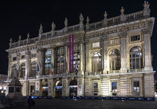 Palazzo Madama by night in Turin Stock Photos