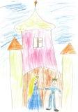 Palazzo magico della vernice dei bambini con il re e la regina illustrazione vettoriale