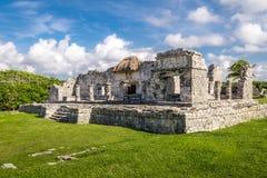 Palazzo maya - rovine di Tulum, Messico fotografia stock