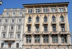 Palazzo model heads in Trieste, Friuli Venezia Giulia (Italy) Royalty Free Stock Photo