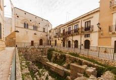 Palazzo Montalto和优秀大学毕业生格雷西亚废墟, Ortigia 图库摄影