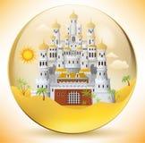 Palazzo orientale nella sfera di vetro Immagine Stock