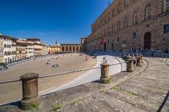 Palazzo Pitti, is een enorm hoofdzakelijk Renaissancepaleis in Florence Stock Afbeeldingen
