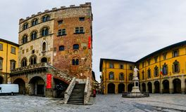 Palazzo Pretorio da cidade de Tuscan de Prato, Itália Imagens de Stock