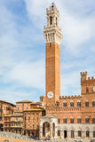 Palazzo Pubblico with the clock towe Stock Photos
