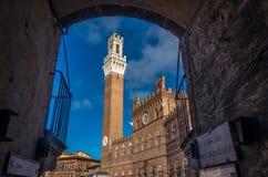 Palazzo Pubblico Palazzo Comunale av Siena och Torre del Mangia Tuscany under sommaren royaltyfri fotografi