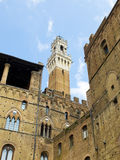 Palazzo Pubblico with Mangia tower in background. Siena, Italy Royalty Free Stock Images
