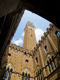 Palazzo Pubblico with Mangia tower in top. Siena, Italy Royalty Free Stock Images