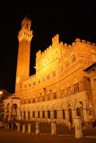 Palazzo Pubblico in Siena (Italy) at night Royalty Free Stock Image