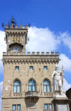 Palazzo Pubblico and Statue of Liberty in San Marino, Italy Royalty Free Stock Photography