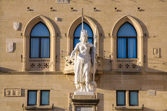 Palazzo Publico San Marino. Showing the republic statue Royalty Free Stock Photography