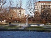 Palazzo Reale喷泉在都灵 免版税图库摄影