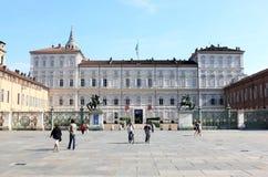 Palazzo Reale su Piazzetta Reale, Torino, Italia fotografia stock