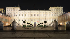 Palazzo Reale in Turin at night. Facade of Palazzo Reale in Torino, Italy, at night Royalty Free Stock Photo