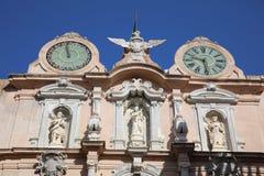 Palazzo Senatorio Cavaretta - Twin Clock Tower in Trapani. Sicily. Italy Royalty Free Stock Photo