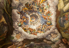 Palazzo Te in Mantua. Is a major tourist attraction. Mannerism`s  fresco: Giulio Romano`s illusionism invents a dome overhead and dissolves the room`s Stock Photos