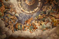 Palazzo Te in Mantua. Is a major tourist attraction. Mannerism`s  fresco: Giulio Romano`s illusionism invents a dome overhead and dissolves the room`s Royalty Free Stock Images