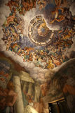Palazzo Te in Mantua. Is a major tourist attraction. Mannerism`s  fresco: Giulio Romano`s illusionism invents a dome overhead and dissolves the room`s Stock Image