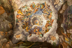 Palazzo Te in Mantua. Is a major tourist attraction. Mannerism`s  fresco: Giulio Romano`s illusionism invents a dome overhead and dissolves the room`s Stock Photo