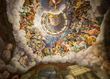 Palazzo Te in Mantua. Is a major tourist attraction. Mannerism`s  fresco: Giulio Romano`s illusionism invents a dome overhead and dissolves the room`s Stock Images